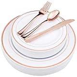 WDF-125 Piece Rose Gold Plastic Silverware Set&Disposable Plastic Plates- Premium Heavyweight Plastic Place Setting include 25 Dinner Plates,25 Salad Plates,25 Forks, 25 Knives, 25 Spoons (Rose Gold)