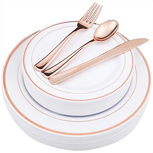 WDF-125 Piece Rose Gold Plastic Silverware Set&Disposable Plastic Plates- Premium Heavyweight Plastic Place Setting include 25 Dinner Plates,25 Salad Plates,25 Forks, 25 Knives, 25 Spoons (Rose Gold) -
