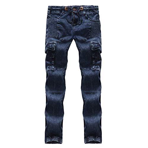 Laisla Ragazzi Slim Fit Da In Denim Multitasche Fashion Con Elasticizzato Tessuto Classiche Uomo Blau Jeans Aderenti Strappati Pantaloni Motociclista FK1cJTl