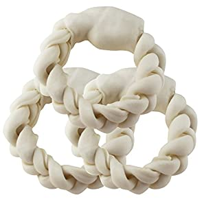 BBDOGO Braided Ring For Pets Braided Rawhide Rings for Large Dogs 15CM CW018 (3 PCS)