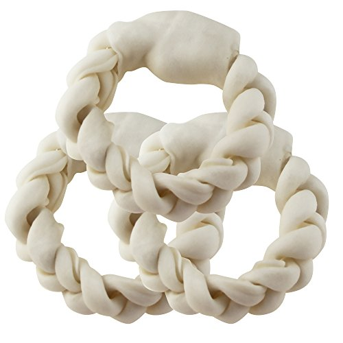 BBDOGO Braided Ring For Pets Braided Rawhide Rings for Large Dogs 15CM CW018 (3 ()