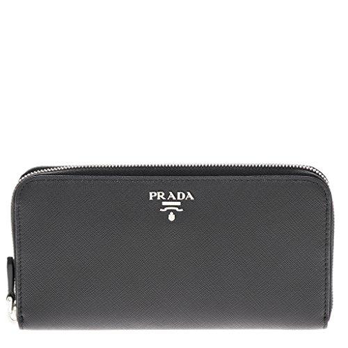 Prada Womenâ€s Saffiano Leather Zip Around Wallet Black
