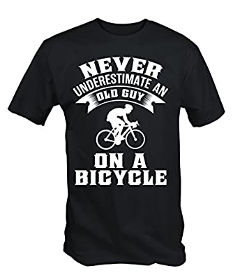 6TN Mens Never Underestimate An Old Guy On A Bicycle Funny Cycling T Shirt