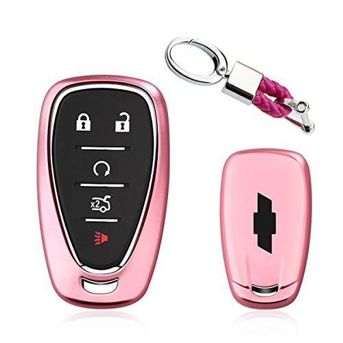 Key Fob Braided - MODIPIM Keyless Entry Remote Case Key Fob Cover with Braided Cord Key Chain Soft TPU Holder Shell Covers for Chevrolet Camaro Cruze Malibu 2/3/4/5-Button Color Pink