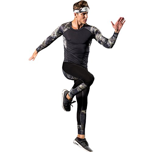 名誉あるましい覚醒KISBINI メンズ 加圧弾力コンプレッション スポーツウェア ジャージ 上下セット UVカット?吸汗速乾 透気 長袖Tシャツ スポーツパンツ