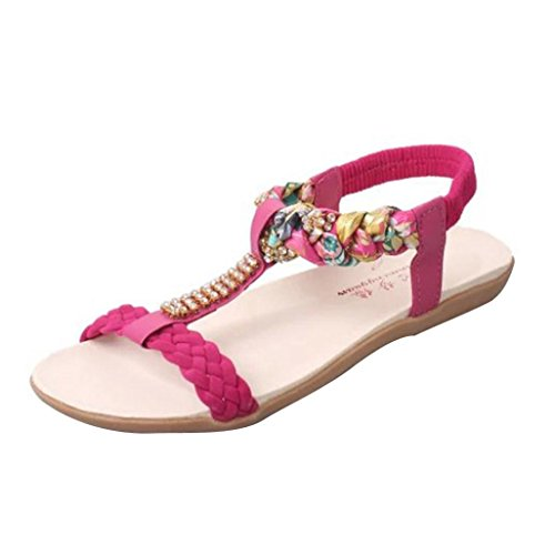 Elevin (tm) Kvinnor Sommarens Mode Pärlstav Bohemia Peep Sandaletter Flat Flip Flops Skor Röd
