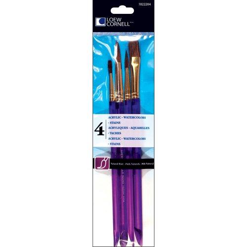 Loew-Cornell 4-Piece All Media Brush Set, Camel Hair, RD 3, 6, 9 Flat/Glaze 1/2