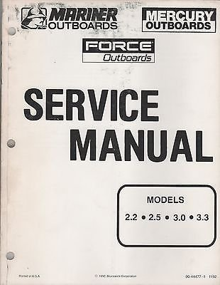 (1993 MARINER MERCURY FORCE OUTBOARD 2.2, 2.5, 3.0, 3.3 SERVICE MANUAL (854))