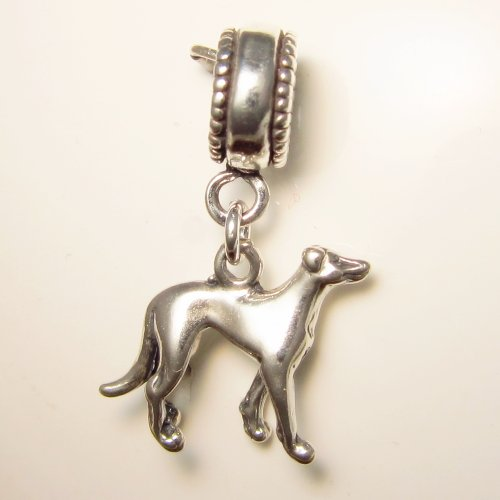 Greyhound Sterling Silver Dangle Dog - Dog Greyhound Charm
