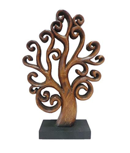 Table Decor Sculpture Accent - Decozen Handmade Wooden Tree of Life Décor a Symbol of Growth and Strength Made by skilled Artisans for Farm House Home Decor Living Rooms Bedroom Kitchen Console Table 4 x 10 x 15 inches