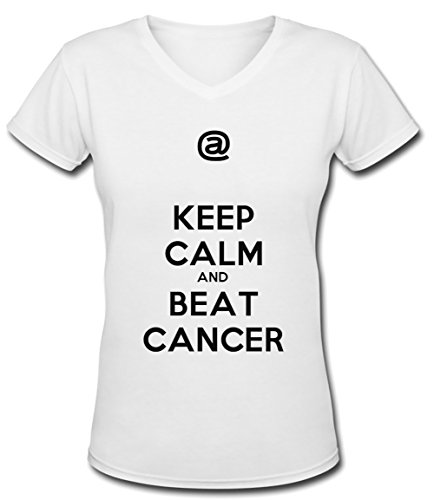 Keep Calm And Beat Cancer Blanc Coton Femme V-Col T-shirt Manches Courtes White Women's V-neck T-shirt