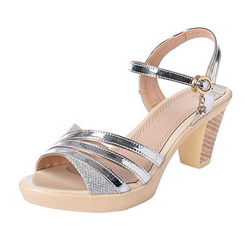 Fashion High Thirty Leather Sandals Mama Heels Girls Shoes Ladies Kinds KPHY Medium Real Six Heels All Women'S 7Cm Shoes Toes Silvery Heeled Of wTqCn44WZx
