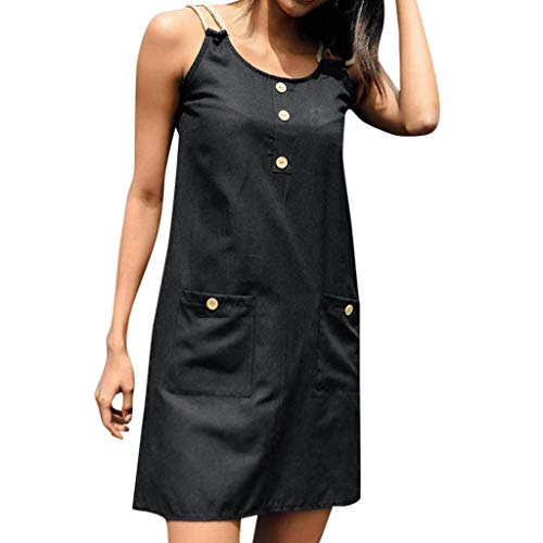 - TIANMI Fashion Women's Sexy Summer Dress Solid Sleeveless Pocket Hollowing Out Casual Loose Beach Mini Dress Black
