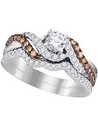 14K White Gold Brandy Diamond Chocolate Brown Exquisite Bridal Ring Set 7/8 Ctw.