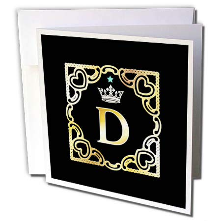 3dRose Russ Billington Monograms-Crown and Star-Letter D - Letter D- Image of Monogram with Crown and Blue Star- not Metal foil - 12 Greeting Cards with envelopes (gc_299117_2)