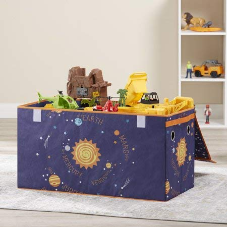 Make Cleanup of Toys Fun and Easy for Kids with Lightweight,Durable and Adorable Mainstays Kids Collapsible Soft Storage Toy Trunk,Outerspace