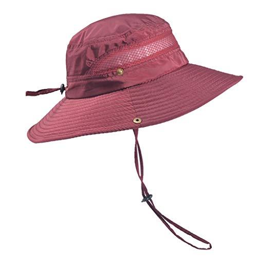 Dressin Outdoor Sun Cap Solid Color Bucket Mesh Hat Fishing Hats Bucket Men Summer String Hat Cap with Drawsting Red