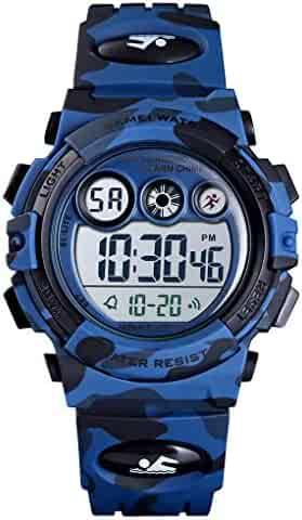 Tephea Kids Sports Watch Boys Military Digital Watch Multi Function Colorful LED Display Waterproof Wristwatches for Children with PU Band (Dark Blue)