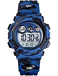 Kids Sports Watch Boys Military Digital Watch Multi Function Colorful LED Display Waterproof Wristwatches for Children with PU Band (Dark Blue)
