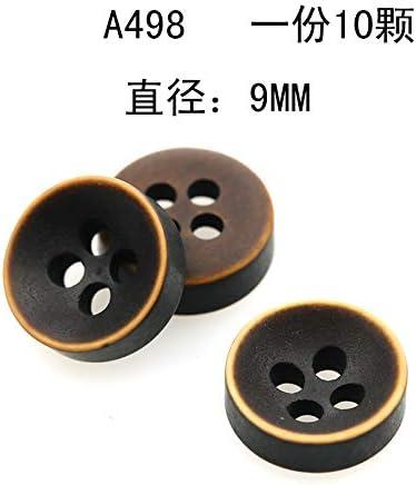 GDSZN Botones Camisa Botones Botones Hombres Mujeres Marrón Café Marrón Imitación Madera Retro Botón Camisa Botón Blanco Redondo Pequeño Botón A498 Diámetro 9Mm [10]: Amazon.es: Hogar