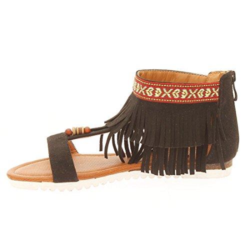CATISA-sd4_wh778-Sandale para mujer Negro - negro