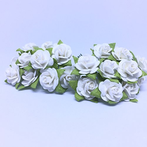100 (White) Mulberry Paper Mini Rose Miniature Craft DIY Tiny Tree Scrapbooking Wedding Doll House Supplies - Christmas Song Guster