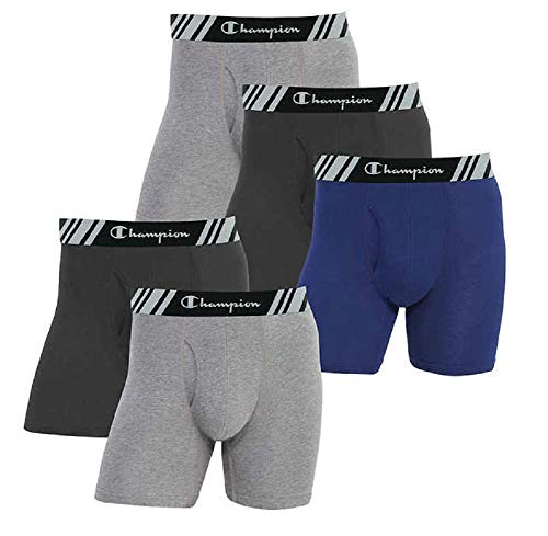 Champion Men's Boxer Briefs All Day Comfort No Ride Up Double Dry X-Temp 5 Pack (Black - Navy - Grey, Medium)