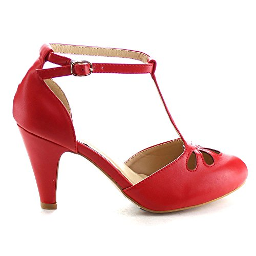 Chase & Chloe Kimmy-36 Dames Tricot Uitgesneden T-strap Mid-hak Jurk Pumps Rood
