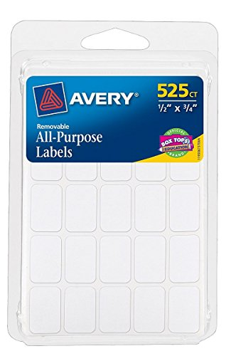 "Avery 06737 1/2"" X 3/4"" Rectangular White Removable Labels 5"