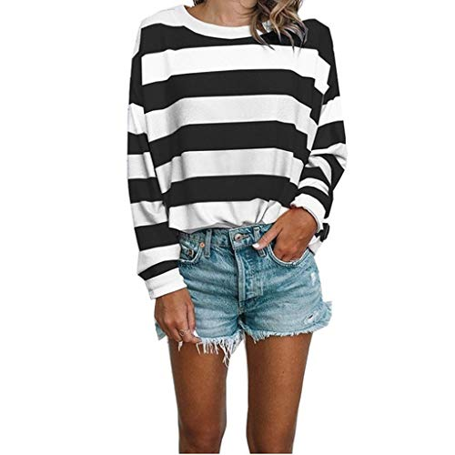 (Long Sleeve Blouse for Women Ladies Stripes Comfortable Shirt Casual Loose Tops Black)