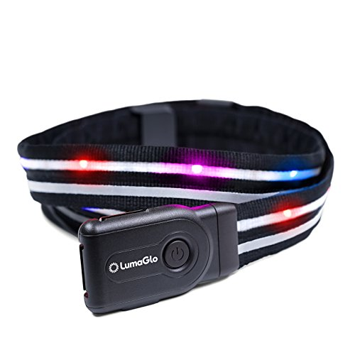 LumaGlo LED Crossbelt - Reflective and Light Up Belt- Great for Kids Walking Home from School, Cycling, Running, Motorcycles, and Walking Your Dog at Night - S/M -