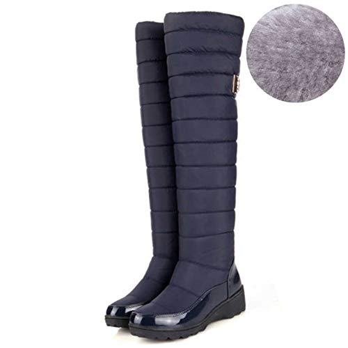 (TANGOGO Women Winter Boots Warm Knee High Boots Waterproof Round Toe Down Fur Ladies Fashion Thigh Shoes)