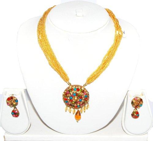 Authentic Designer Indian Lac / Rajasthani Style Costume Jewelry Set for Women / AZINLC032-GLD - Designer Costume Jewellery Mumbai