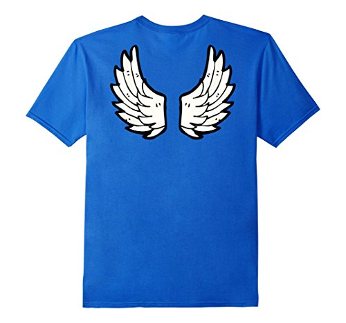 Male Angel Costume (Mens Angel Fairy Wings Costume Shirt for Adults and Kids Large Royal)