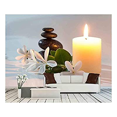 Magnificent Picture, Original Creation, Tiare Flowers Candle and Black Stone Spa