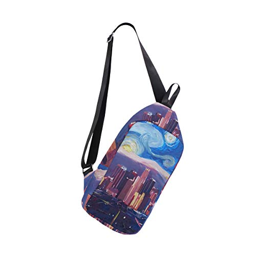 Oil Painting Los Angeles Sling Bag Water Resistant Outdoor Shoulder Backpack Chest Pack Crossbody Bags for Women and Men Causal Daypacks Hiking Cycling and Travel
