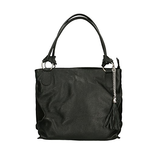 Chicca Borse Handbag Borsa a Mano in Vera Pelle Made in italy - 36x28x17 Cm Nero