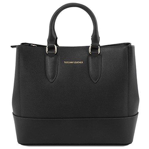 Tuscany Leather TL Bag Borsa a mano in pelle Saffiano Rosso Lipstick Nero