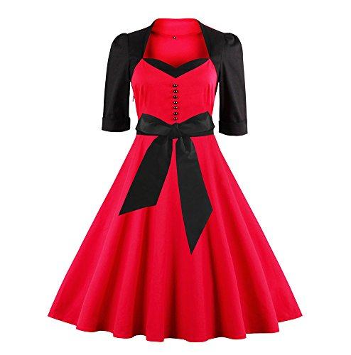 U8Vision - Vestido - plisado - para mujer Rojo