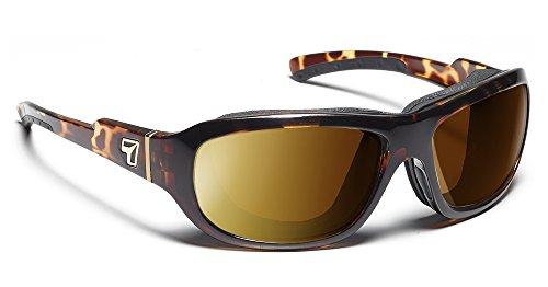 7eye by Panoptx Buran Frame Sunglasses with Polarized Copper Lens, Light Tortoise, - Narrow Face Sunglasses