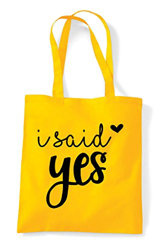 Engagement Wedding Shopper Bag Statement I Said Tote Yellow Yes EFqBBw4z
