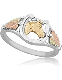Horseshoe and Horse Ring, Sterling Silver, 12k Green and Rose Gold Black Hills Gold Motif