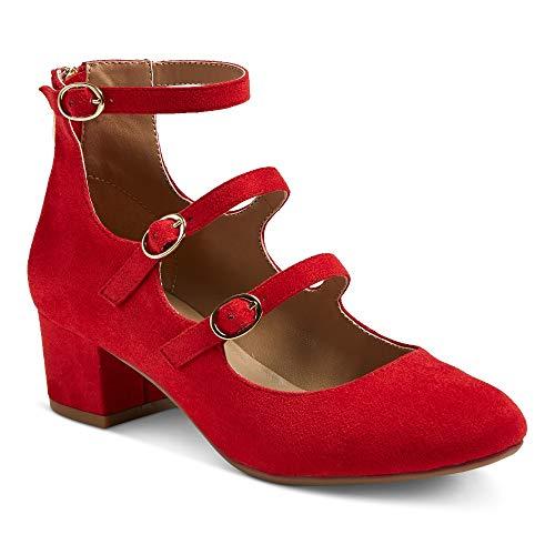 Picture of Z-London Women's Celesse Triple Buckle Block Heel Pumps (8.5, Red)