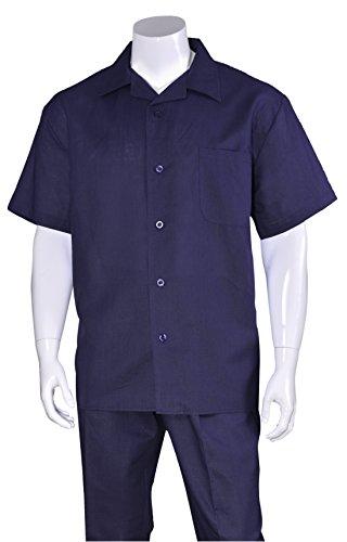 Fortino Landi Plain Linen Walking Suits 2806-Navy-XX-Large-42