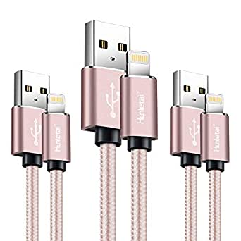 Hunletai Nylon Carga Rápida Cable Phone Rosa [3-Pack] 1m 1m 2m ...