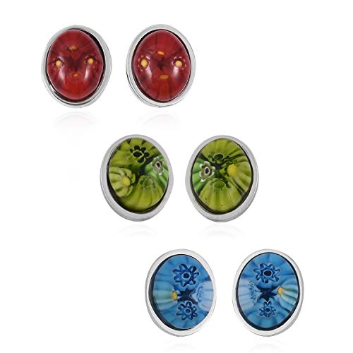 Set of 3 Stud Solitaire Earrings Stainless Steel Oval Blue Green and Red Murano Millefiori Glass Jewelry for Women