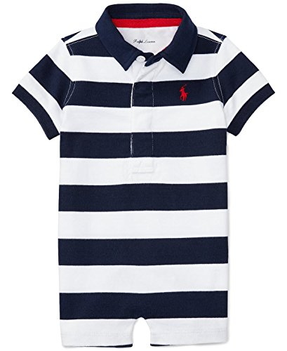 Ralph Lauren Baby Boys Striped Cotton Jersey Shortall (12 Months, French Navy/White) (Lauren Ralph Ribbed Jersey)