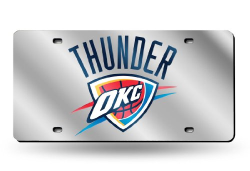 NBA Oklahoma City Thunder Laser Cut License Plate, Silver, One Size