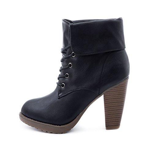 Marimo Damen Worker Boots Schnür Stiefeletten mit Blockabsatz in Hochwertiger Lederoptik Schwarz