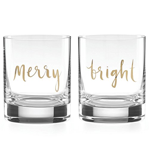 Kate Spade New York Oh What Fun Merry and Bright Double Old Fashioned Glasses, 12-ounces
